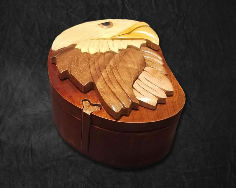 Carved Eagle Jewelry Box