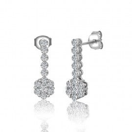 Pressure Set Round Diamond Earrings