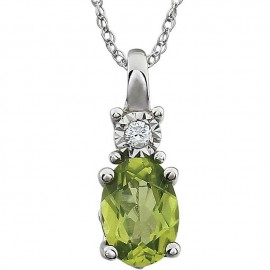 "14kt White Peridot & .02 CTW 18"" Necklace"