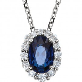 14K Blue Sapphire & Diamond Necklace