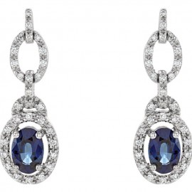 14K White 1/4 CTW Diamond & Blue Sapphire Earrings