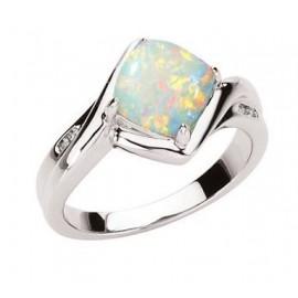 14K White .03 CTW Genuine Opal & Diamond Ring.