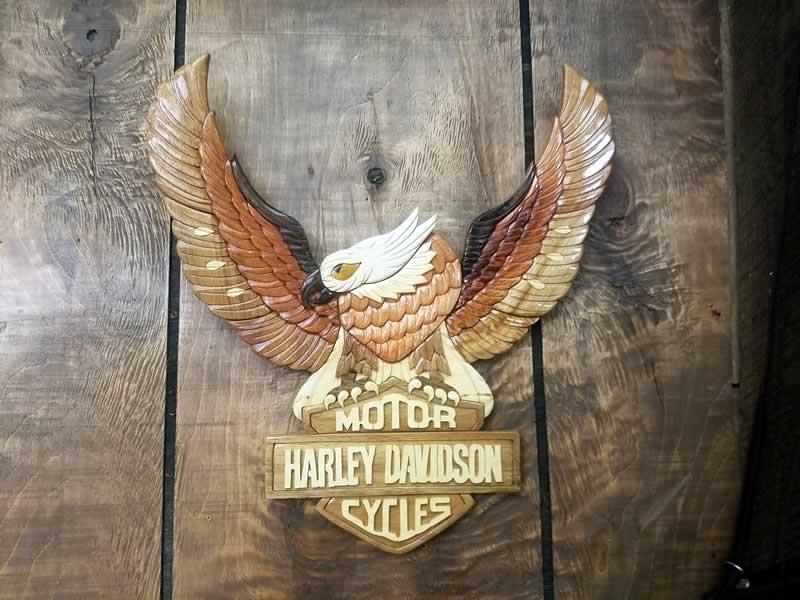 Carved Wall Art - Harley Eagle