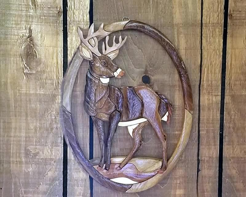 Carved Deer Wall Art